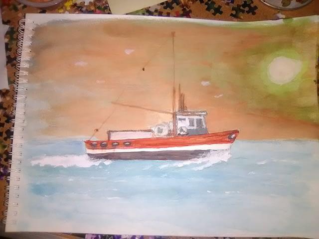 trawler watercolor