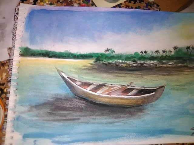 Watercolor exercise #5 - boat off a tropical beach